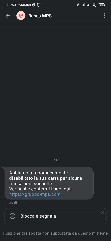 Banca MPS truffa via SMS