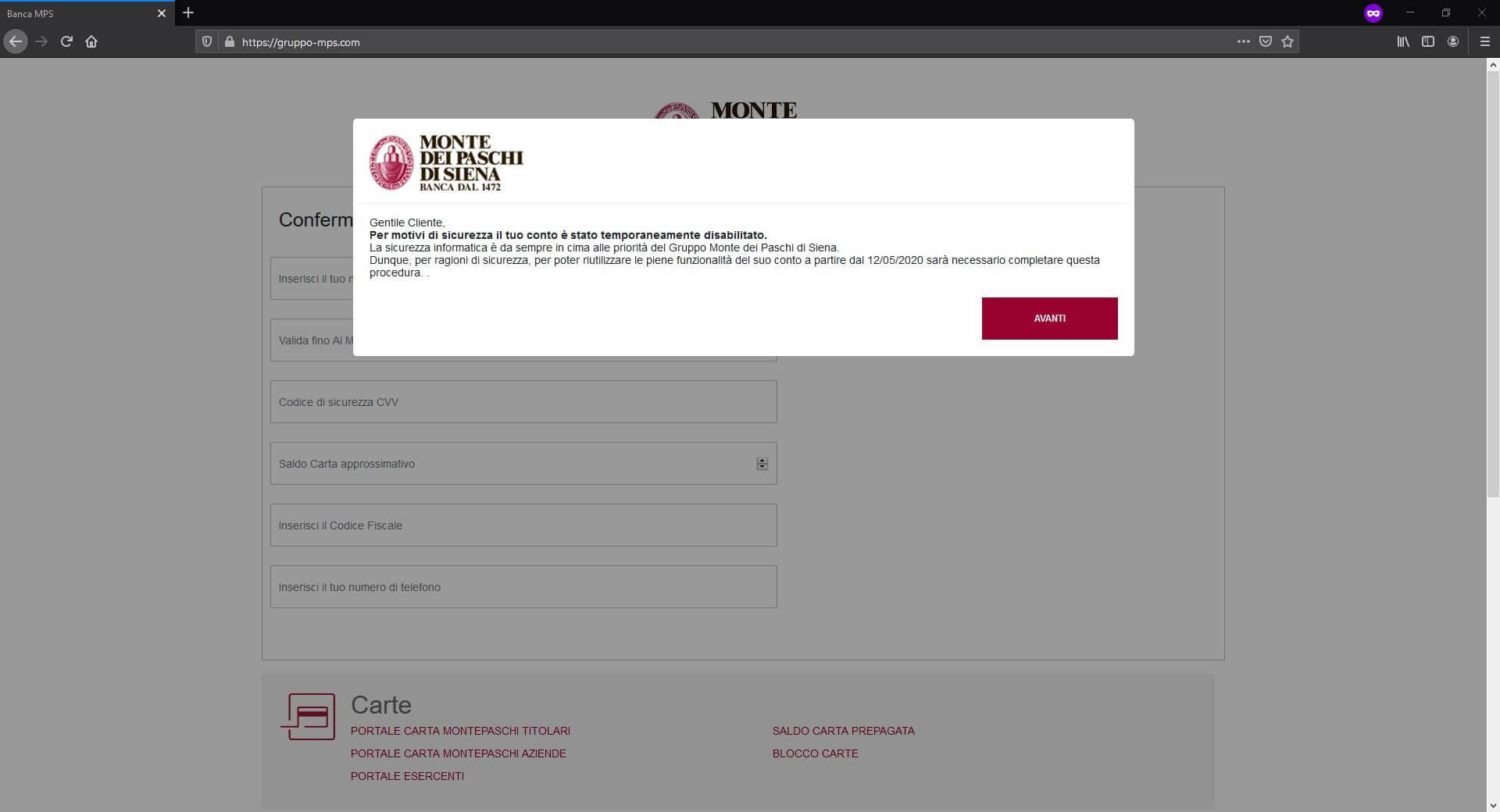 Banca MPS popup falso sito