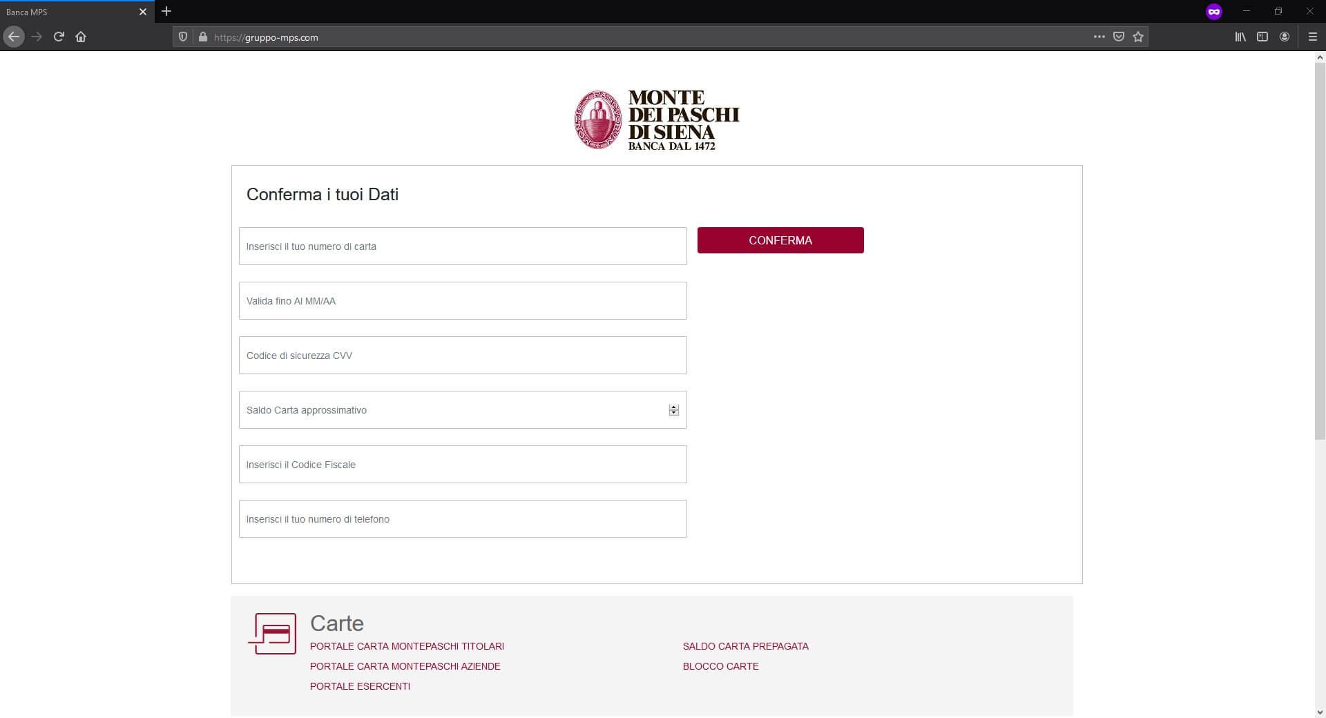 Banca MPS inserimento dati falso sito