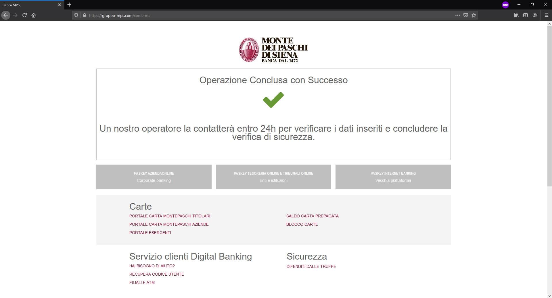 Banca MPS falso sito operazione conclusa