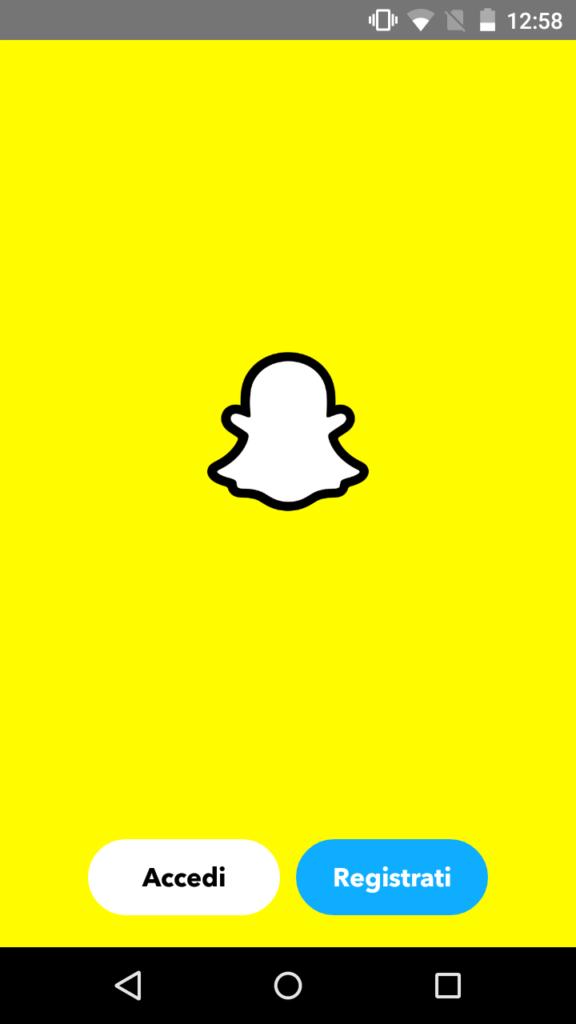 Snapchat app craccate apertura app