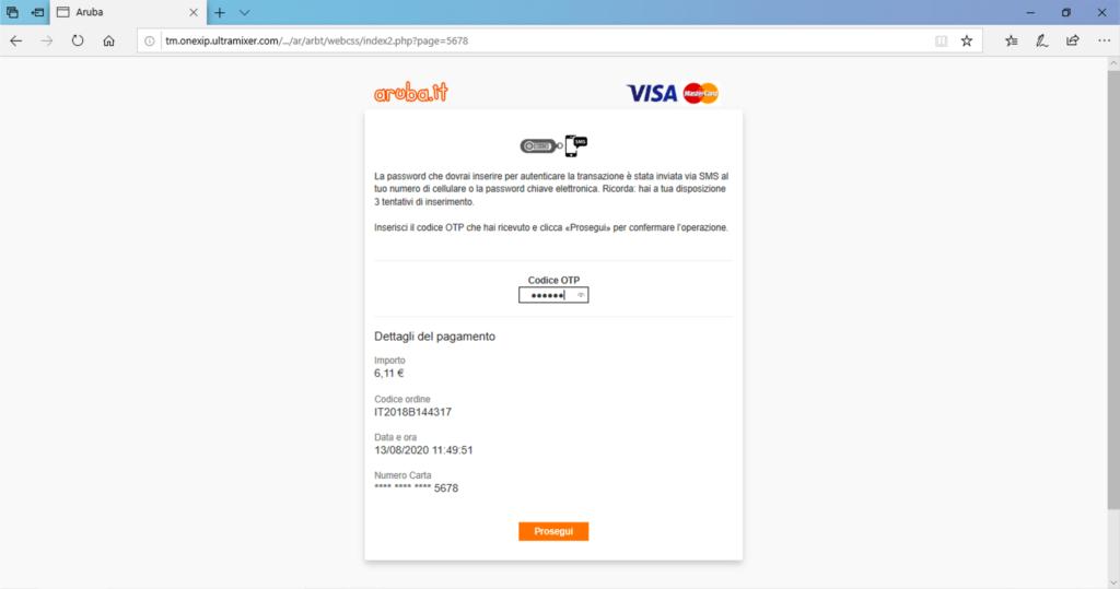 Truffa aruba rinnovo dominio phishing step3