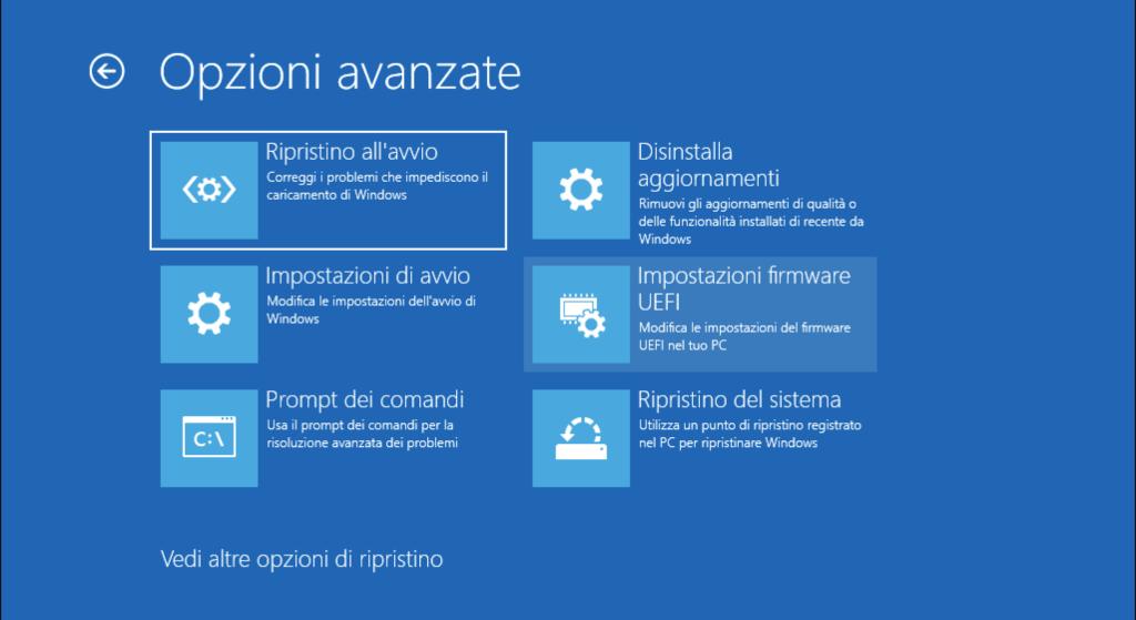 BIOS UEFI Windows 10 Impostazioni firmware UEFI