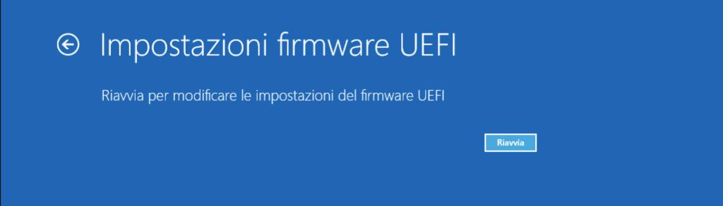 BIOS UEFI Windows 10 Riavvio