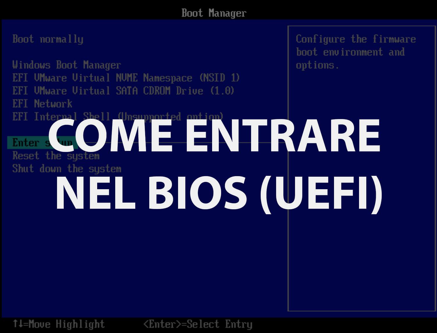 Come entrare nel BIOS UEFI Windows 10
