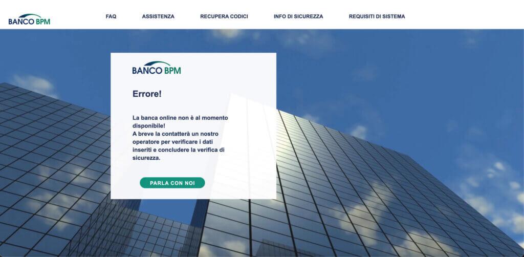 youalert-truffa-dispositivo-non-autorizzato-connesso-al-conto-online-errore-banca-non-disponibile